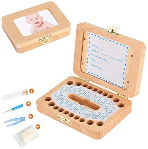 Luchild caja dientes leche ESPAÑOL, Caja para guardar dientes para niños y niñas, Regalo para niños en madera de souvenir, Acumulación de dientes – Español