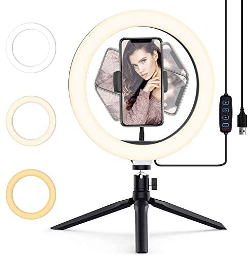 "Luz de Anillo LED 10.2"" Aro de Luz para móvil con Trípode 3 Modos de Luz y 10Niveles de Brillo Wireless Control Remoto Ring light para Movil TIK Tok, Maquillaje, Selfie, Streaming, YouTube"