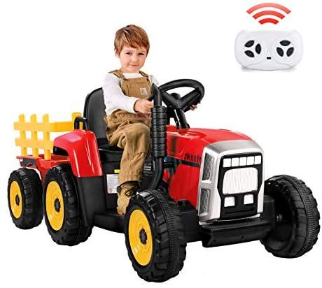 METAKOO Tractor Eléctrico 12V 7Ah, 2+1 Cambio de Marchas, 25W Tractor Batería con Remolque, Bocina/ Reproductor MP3/ Bluetooth/ Puerto USB/ Faro de 7 LED, Control Remoto para Niño 3-6 años (Rojo)