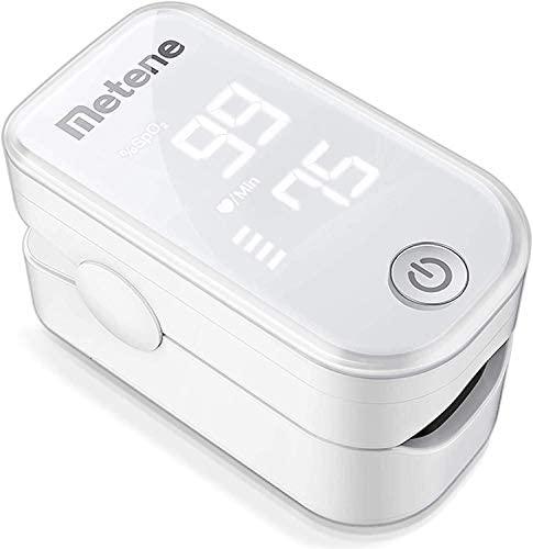 Metene Oxímetro Cardíaco de punta del dedo Metene, Monitor de Saturación de Oxígeno en la Sangre, Frecuencia Cardíaca y Nivel de SpO2 con Cordón y Baterías, Gran Pantalla LED, para el Hogar