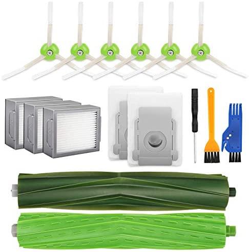 morpilot Kit de Accesorios Compatible con Roomba i7 i7+ / Plus E5 E6 E7, Recambios con 6 Cepillos Laterales, 3 Filtros, 2 Rodillos Centrales, 2 Bolsas de Polvo