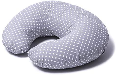 Niimo Cojin Lactancia Bebè Funda Cojin 100% Algodòn Extraíble y Lavable Almohada Multifuncional para Madre y Bebé Relleno de Fibra de Poliéster (Gris – Lunares Blancos)