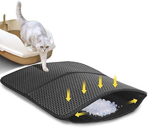Nobleza Alfombra para Gatos Estera Arena Gatos Doble Capa Impermeable EVA Basura Impermeable Cat Litter Mat 60×45 cm