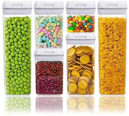 Numyton Contenedor de almacenamiento con tapa hermética, Latas de sin BPA, Latas de almacenamiento de alimentos Juego de 6 piezas, mantener los alimentos frescos