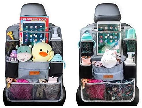 Organizadores para coche, Organizador Asiento Coche, SURDOCA 4 de la generación Organizador Coche niños, Ajuste con [10.5 & 9.7 & 7.9 iPad] Organizador Asiento. Gris, 2 piezas