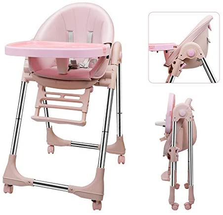 OUNUO Trona para Bebe Evolutiva, Trona para bebés con bandeja extraíble, Ajustable y Plegable con 4 ruedas , crece con el niño 0 meses – 6 años,Segura (Beige)