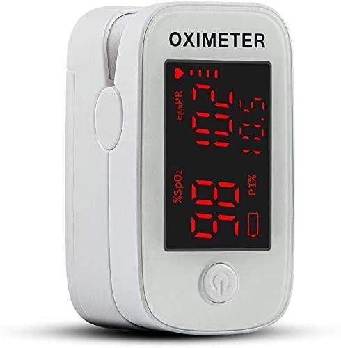 Oxímetro de Dedo, Profesional Saturometer Oxímetro de pulso con pantalla LED Medición Portátil de SpO2 PR PI para Adultos Niños de edad Avanzada (baterías y cable)