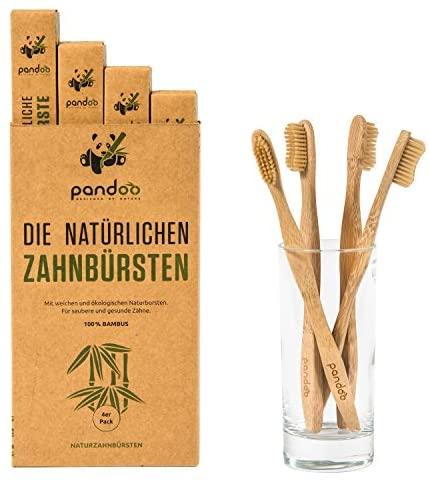 pandoo Cepillos de Dientes en Bambú  Opción de Cepillo y Cerdas Ecológicos, Antibacterianos y Biodegradable a los Cepillos de Plástico  Vegano – Libre de BPA – Higiene Bucal y Dental  4 Unidades