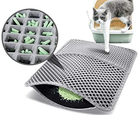 Pecute Estera de Arena para Gatos Impermeable Cat Litter Mat Alfombra de Basura Rascadores Litter Trapping Mat Doble Capa no Tóxico Antideslizante Plegable para Arenero Gatos (Gris, 60*42cm)