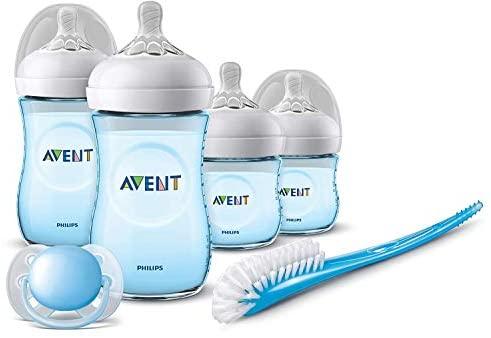 Philips Avent SCD301/04 – Set de recién nacido gama natural, 4 biberones, chupete y escobilla, azul