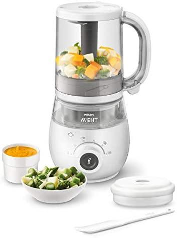 Philips Avent SCF883/01 – Procesador de alimentos para bebé 4 en 1 en color blanco: cocina a vapor, tritura, descongela y calienta en un solo recipiente