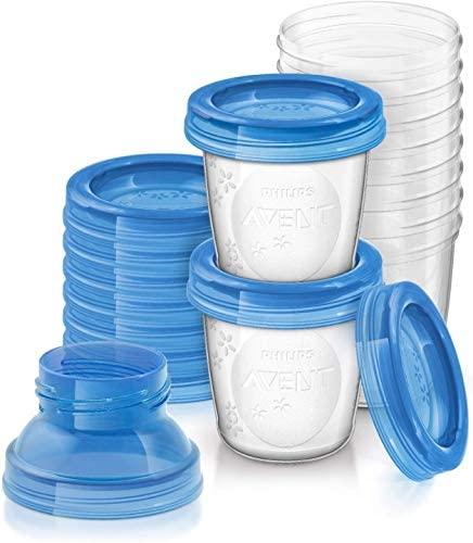 Philips Avent – Set de recipientes para leche materna (10 recipientes + 10 tapas + 2 adaptadores)