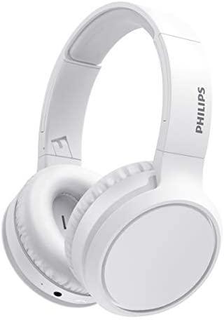 Philips H5205WT/00 Auriculares Inalámbricos Bluetooth, Auriculares Supraaurales (Micrófono, Botón Refuerzo Graves, 29 Horas Reproducción, Carga Rápida, Aislamiento Sonido) Blanco – Modelo 2020/2021