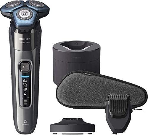 Philips S7000 S7788/59 Afeitadora eléctrica para hombre con tecnología Skin-IQ, cortapatillas, seco/húmedo, con base de carga, base de limpieza, perfilador de barba y funda