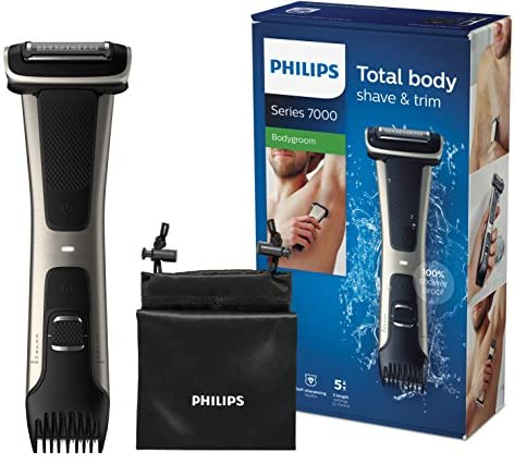Philips Serie 7000 BG7025/15 – Afeitadora corporal con cabezal de recorte y de afeitado, 80 minutos de uso, apta para la ducha, color negro