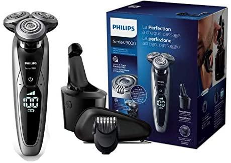 Philips Serie 9000 S9711/32 – Máquina de afeitar con cabezales de 8 direcciones, seco/húmedo, 3 modos y sistema de limpieza SmartClean, incluye perfilador de barba y funda de viaje, plata
