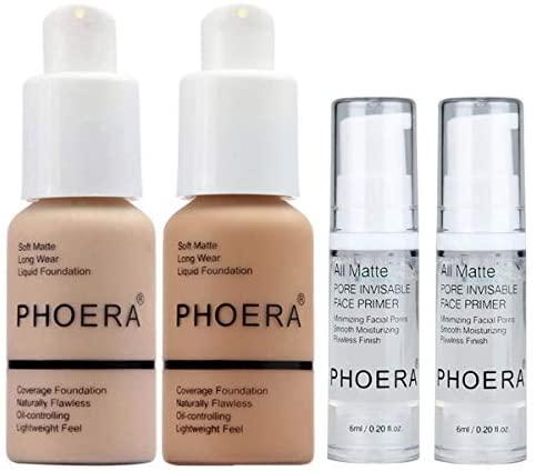 PHOERA 30ml Bases de maquillaje Correctores Líquido Concealer (Nude #102) con 6ml Makeup Face Primer & Loose Powder (Cool Beige #02)