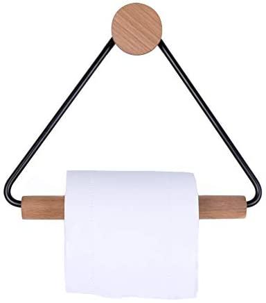 Portarrollos de papel higiénico, de madera, marco de acero inoxidable, redondo, gancho de madera, para decoración de cocina, baño, color negro