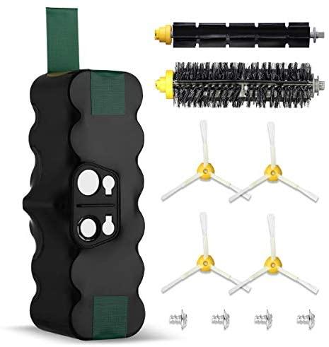 Powerextra Aspirador Batería de Reemplazo para 4500mAh Ni-MH 14.4V Batería Series 510 530 535 540 550 560 570 580 610 760 770 780 800 870 (con 1 par de cepillos de Rodillos)