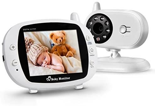"""Powerextra Vigilabebé Bebé Monitor Inteligente con LCD 3.5"""" Cámara Visión Nocturna Cámara Vigilancia Bebé Temperatura Diálogo Canción de Cuna Color Blanco"""