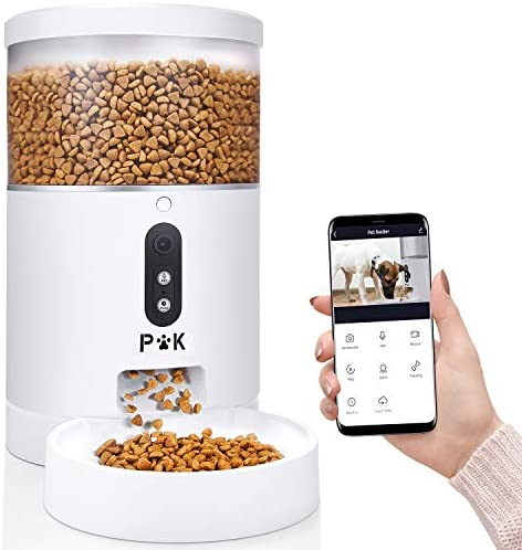 PUPPY KITTY 4L Comedero Automático para Gatos y Perros,Control De La App, Alimentador Automático con Cámara De 1080 HP,Vigile y Alimente a Su Mascota En Todo Momento,Alimentación Ilimitada por Día