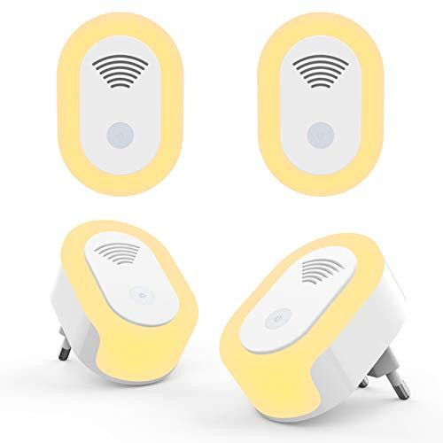 Repelente Ultrasonico de Plagas,Hisome Repelente Mosquitos Ultrasonidos,paquete de 4 con luz nocturna LED, Ahuyentador electrónico ultrasónico seguro para mosquitos,ratones,insectos y roedores