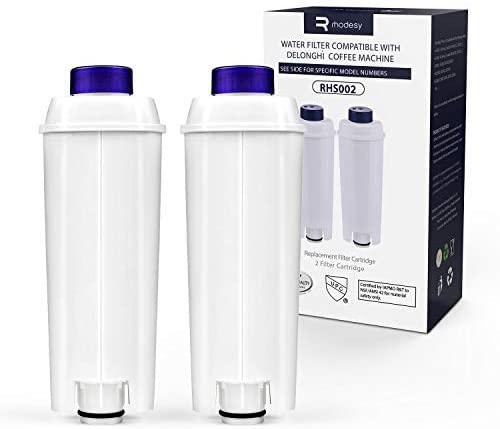 Rhodesy 4 Cafetera Automática Filtro para DeLonghi RHS002, DeLonghi Filtro de Agua Cartuchosde Carbón Activado para De´Longhi ECAM ESAM ETAM BCO, Paquete de 2