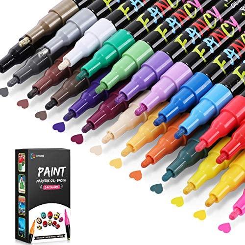 Rotuladores de Pintura Acrílica, Emooqi Marcador de Pintura Impermeable Permanente de 24 Colores, Bolígrafos Acrílicos a Base de Aceite de Secado Rápido para Piedra, Cerámica, Metal, Madera