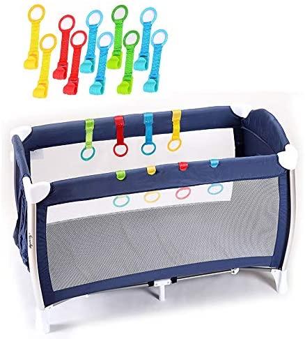 Rovtop 10 Packs Anillas para Cunas y Parques – Ayuda a Su Bebe a Ponerse de Pie Facilmente (Diámetro Máximo del Anillo de Mano de 9CM) (Diámetro 9cm)