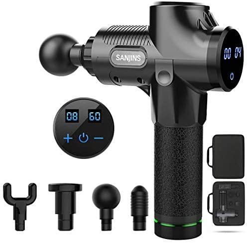 SANJINS Nueva Pistola Fascia, Masajeador Muscular Profundo, 6 Cabezales de Masaje y Pantalla LCD, Para Aliviar el Dolor Muscular