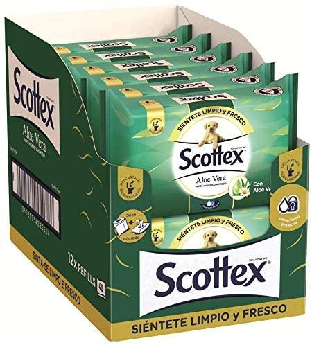 Scottex Sensitive Aloe Vera Papel Higiénico Húmedo – 12 Paquetes de 40 Unidades