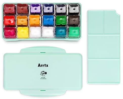 Set de pintura Arrtx Gouache, 18 colores x 30ml Diseño único de taza de gelatina con estuche portátil paleta, artistas, perfecto para aceite, pintura acrílica, graffiti y más (verde menta)