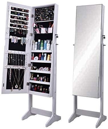 SogesHome Gabinete de joyería de pie libre, cerrable de longitud completa con espejo, gabinete de almacenamiento ajustable en ángulo organizador de joyas para anillos, pulseras, blanco SH-QH-6150-W