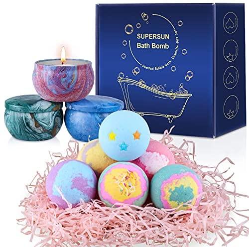 SUPERSUN Bombas de Baño 6 x 100 g y 3 Velas Aromáticas, Set de Baño Regalos para Mujer Relajantes y Espuma, Sales de Baño, Regalos para Cumpleaños, Aniversario, Día de San Valentín, Día de la Madre