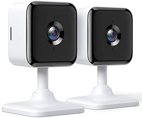 Teckin 1080P FHD Cámara de Vigilancia WiFi Interior, Visión Nocturna, Audio Bidireccional, Detección de Movimiento, Funciona con Alexa/Google Home, para Bebé/Mascota/Anciano, 2 unidades