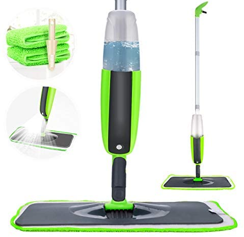 Tencoz Spray Mop, Fregona con vaporizador Integrado Limpiador de Ventanas y Escoba Barredora de Empuje Manual con Almohadilla de Microfibra Reutilizable Aplicable en Seco y Húmedo Limpieza(300ml)