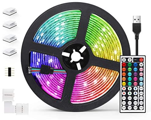 Tiras LED 5M, AGPTEK Luces LED 5050 RGB 150 Tira LED con Control Remoto de 44 Botones, 20 Colores 8 Modos de Brillo y 6 opciones DIY para Sala, Comedor, Cocina, Navidad, Halloween y Fiesta