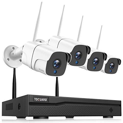TOGUARD Kit de Cámaras de Vigilancia IP WiFi Exterior, 8CH 1080P NVR 1080P Camara Videovigilancia Inalambrica con Detección de Movimiento, Visión Nocturna, IP66 a Prueba de Agua, Conecta y Reproduce