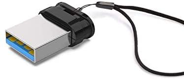Vansuny 64GB Memoria USB 3.0 Mini, Pendrive USB 64GB Portable, Memoria Flash Drive 3.0 Llave Pendrive para PC (Negro, con Cable)
