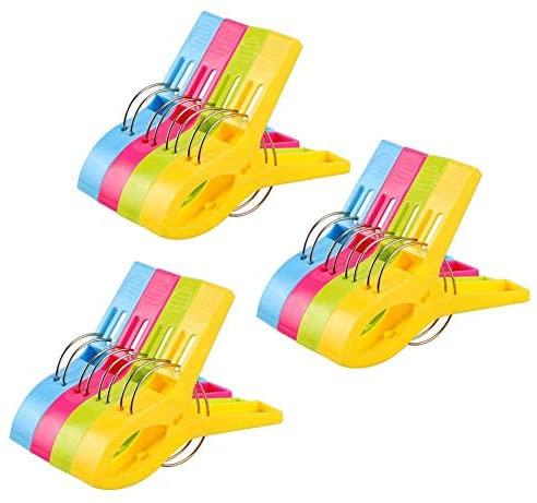Vicloon 12Pcs Pinzas de Toalla de Playa Grande Fuerte Clips Plástico,Resistente Clips Brillante Color Pinza de la Ropa,Resistentes al Viento,para la Ropa Pesada
