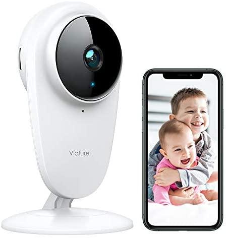 Victure 1080P Cámara de Vigilancia Bebé 2.4G Wi-Fi Interior Vigilabebés con Cámara Monitores de Bebé Detección de Sonido y Movimiento la Visión Nocturna Funciona con Alexa