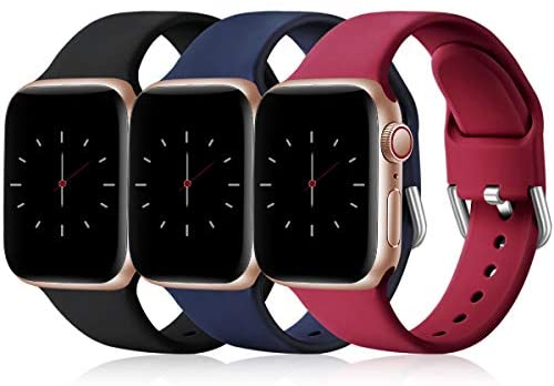 Wepro 3 Pack Correas Compatible con Apple Watch Correa 38mm 42mm 40mm 44mm, Correa de Silicona Suave de Repuesto Compatible con iWatch Series 6, 5 4 3 2 1, SE, 38mm/40mm-S/M, Negro/Azul/Rojo