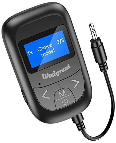 Wodgreat Receptor Bluetooth Adaptador Bluetooth 5.0 Transmisor Receptor Bluetooth para PC TV Coche, Emisor Bluetooth Audio 3.5mm AUX Pantalla LED Baja Latencia, Música Inalámbrico en Coche