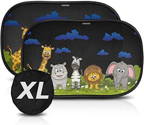 XL Parasol coche infantil XL con protección UV – 2 parasoles coche autoadhesivos para monovolúmenes como Touran, Zafira o Mazda5 (59×38 cm)