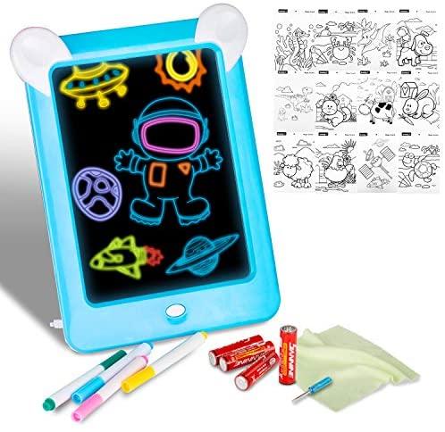 Xpassion Tablero de Dibujo Mágico, Tableta de Dibujo Pizarra 3D Mágico con Luces LED Educativo Infantil de Graffiti, Regalos Juguetes para Niños,Boceto, Arte(Azul)