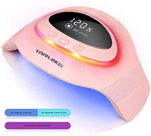 YARUIKE Lámpara de uñas Lampara Secadora de Uñas LED/UV,Con sensor automático y luz ambiental,temperatura ajustable 60%/80%/100%,Cura la Luz en 4 modos 30s/60S/90S/120S,con 2 palos de lijado,72W