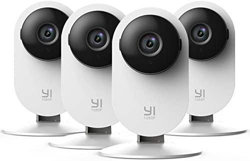 YI Cámara Vigilancia, Cámara IP WiFi 1080p Sistema de Seguridad de Full HD, Detección de Movimiento, Visión Nocturna, Audio de 2 Vias y Nube con App para iOS y Android 4 Piezas