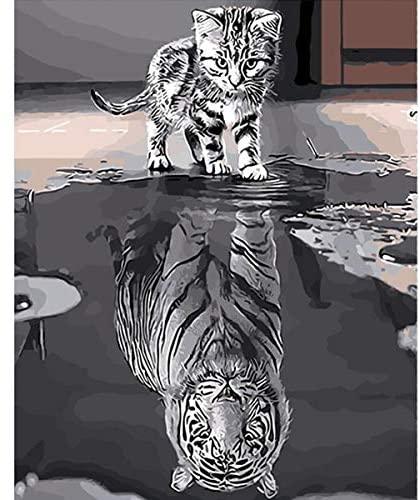 YIMAKJ Pintar por Numeros Adultos Niños – DIY Pintura por Números con Pinceles y Pinturas Pintar por número Decoraciones para el hogar Gato y tigre 50 x 40cm