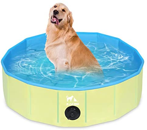 Zacro Piscina Plegable para Perros para Niños/Mascotas Perros/Gatos Piscina Infantil para Perros Piscina con PVC Antideslizante Resistente al Desgaste (80 cm x 20 cm) – Azul Claro y Amarillo