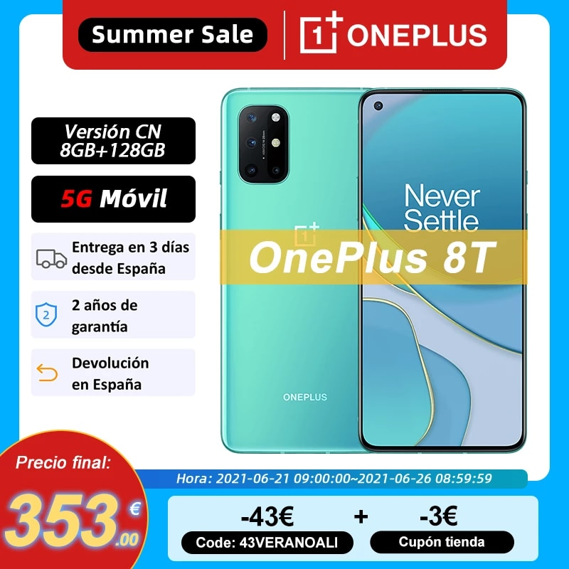 New Global ROM OnePlus 8T 8 T Smartphone Snapdragon 865 5G 6.55